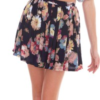 Emily Pleats Mini Skirt - Navy Print