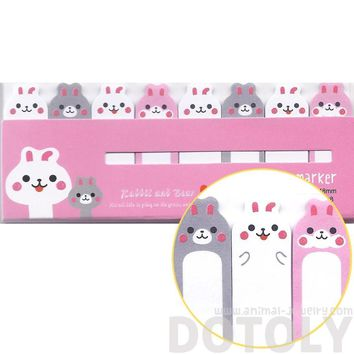 Kawaii Bunny Rabbit Shaped Sticky Memo Post-it Index Bookmark Tabs | Animal Themed Stationery