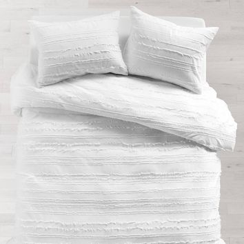 White Eyelash Stripe Duvet Cover and Sham Set