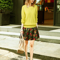 Casual Yellow Diamond Embroidered Design Sweater And Floral Pleated Mini Skater