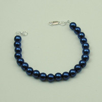 CLEARANCE SALE   Navy blue bracelet, blue bracelet, blue glass beads, sale price
