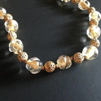 Glass beads and gold tone filigree necklace | Estate Jewelry