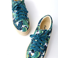 Ambar Green Multi Tropical Print Espadrille Sneakers