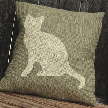 Cat Pillow, Burlap Pillow, Cat Lover, Outdoor Pillow,Throw Pillow,Decorative Pillows,Accent Pillows,Throw Pillows,Rustic Decor, Cottage Chic
