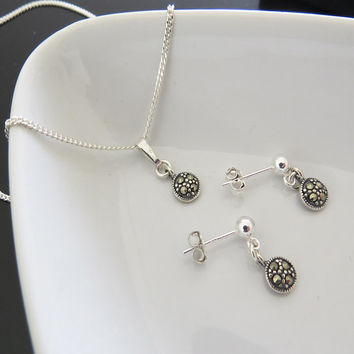 Jewelry Gift Set, Set of 2 Fine Sterling Silver Necklace and Earrings - Everyday Jewelry - Handmade Jewelry