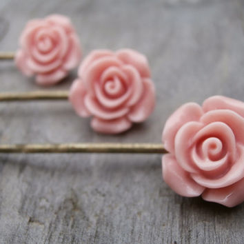Set of three pastel pink rose bobby pins - vintage style hair slides - bridesmaids hair accessories - floral hair grips - pale pink etsy uk