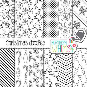 Christmas Digital Paper - black and white Christmas doodles -  tree, ornaments, lights & candy cane seamless patterns - commercial use
