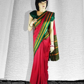 the tri-colored stipe trim semi silk saree