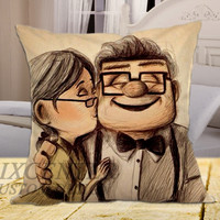 Disney Pixar Carl and Ellie Up Movie on square pillow cover 16inch 18inch 20inch