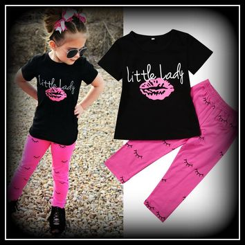 """Little Lady"" Girls Clothing Cotton T shirt Tops Short Sleeve Pants 2PCS Outfit Clothes Set Girl Tracksuit"