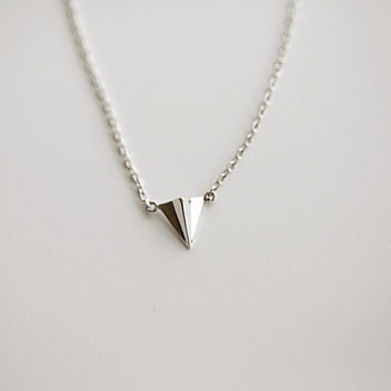 925 sterling silver Paper plane necklace, simple sterling silver necklace, A delicate gift
