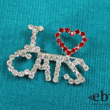 Vintage 80s Rhinestone I Heart Cats Brooch Cat Pin Cats Pin Rhinestone Brooch Cat Gift Cat Lover Gift Cats Gift Crazy Cat Lady