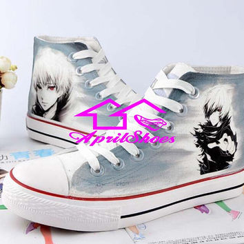Grey Canvas Shoes, Customizing High Tops, Tokyo Ghoul Themed Shoes, Kaneki Ken on Grey Kicks, Men Shoes, Women Shoes, Not Converse