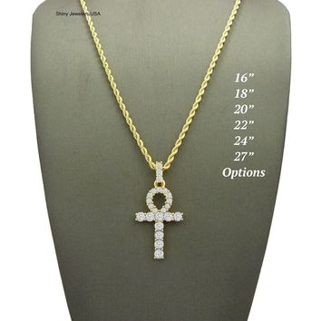 """MENS ICED OUT MICRO PAVE EGYPTIAN ANKH CROSS (KEY OF LIFE) PENDANT ROPE CHAIN 18"""",20"""",22',24"""",30""""NECKLACE"""