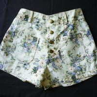 High Waist Shorts Floral Shorts Cream with Blue Floral Inspired Shabby Chic Shorts - -Size S-M- 12'SHORT LENGTH