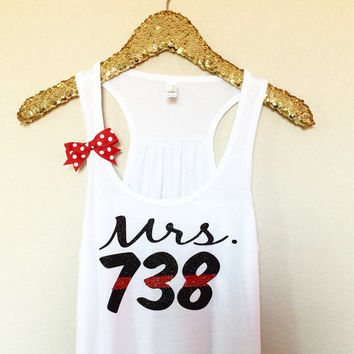 Mrs. - Badge Number Tank - Thin Red Line Tank - Thin Blue Line Tank - Fire Wife Tank - Police Wife Tank - Ruffles with Love