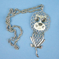 """Silver Articulated 5"""" Lion Pendant Rope Chain Necklace, Vintage 1970s Era, Silvertone Metal, Body Tail Eyes Wiggle, Animal Figural Jewelry"""