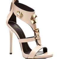 Studded Heel Sandal with Buckle Detail