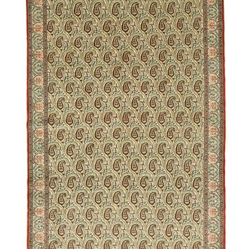 EORC Hand-knotted Wool Ivory Traditional Oriental Paisley Qum Rug