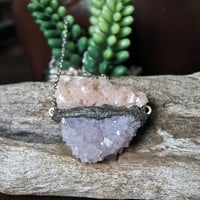 Lavender Spirit Quartz Necklace w/ Chalcopyrite Dolomite, Raw Stone Jewelry, Purple Crystal Healing Gemstone, Bohemian Chic Festival Fashion