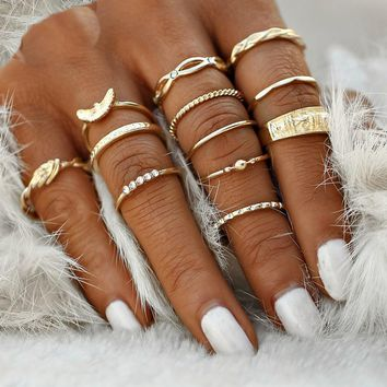 12 PC Dainty Gold Boho Ring Set