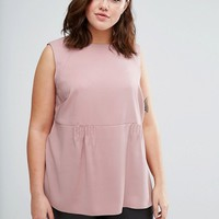 ASOS CURVE Longline Tuck Detail Top at asos.com
