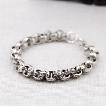 S925 Sterling Silver Circle Tide Personality Tyrannical Thai Silver Retro Great Wall Pattern men's Bracelet