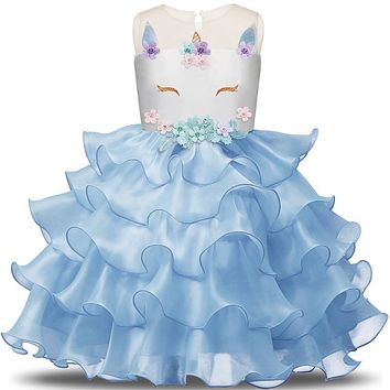 Fairy Fancy Unicorn Dress for Girls Clothing Embroidery 6 Years Unicorn Party Cake Smash Outfits Blue Fist Communion Prom Gown