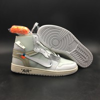 [Free Shipping]Nike Air Jordan 1 x Off White AQ0818-100 Basketball Sneaker