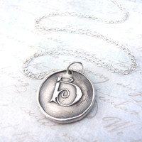 Wax seal initial necklace in letter B hand stamped from recycled silver clay, made to order