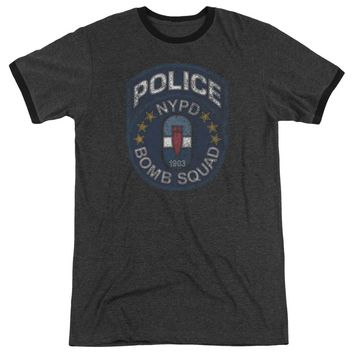 NYPD Ringer T-Shirt Police Bomb Squad Charcoal Tee