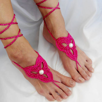 Cyclamen Barefoot Sandals Pearl Footless Clothes Anklet Toe Steampunk Foot Jewelry Boho Dreamcatcher Sexy Beach