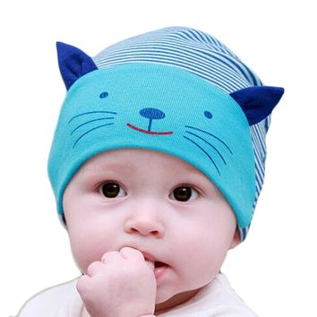 baby caps cute cat ear design baby beanie kids hats,boy girls cotton striped cap newborn bebes bonnet for 1-3years old