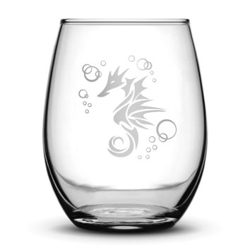 Wine Glass with Seahorse Design, Hand Etched
