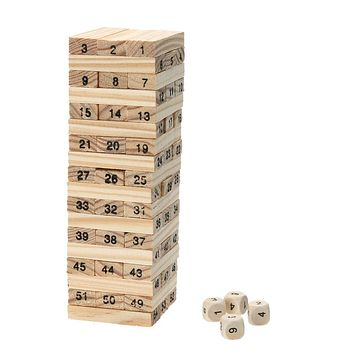 Pine Wooden Tower Wood Building Blocks Toy Domino 54pcs Stacker Extract Building Educational Game Gift 4pcs Dice