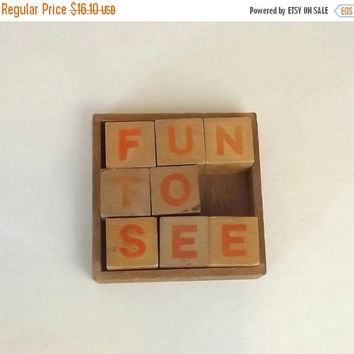 ON SALE - Vintage Wooden Letter Blocks in Tray, 8 Toy Blocks, Red Letters