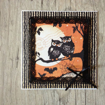 Halloween crafted 3D card - greeting card post card - black orange rustic - owl bat web moon - europeanstreetteam