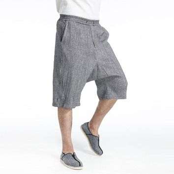 INCERUN Fashion Man Linen Short Sweatpants with Pockets Summer Casual Cotton Linen Loose Work Shorts Men Short Pants Hot Selling