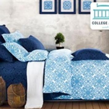 Crystalline Blue Twin XL Comforter Set - College Ave - 100 Percent Cotton - Cheap College Bedding