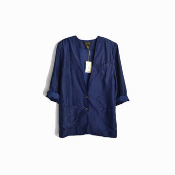 Vintage 90s Navy Blue Sandwashed Silk Blazer / Oversized Blazer Jacket with Power Shoulders - women's xs
