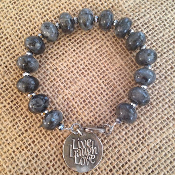 Labradorite Bracelet/Beaded/Fine Silver Charm/Live Laugh Love
