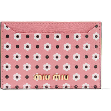 Miu Miu - Printed textured-leather cardholder