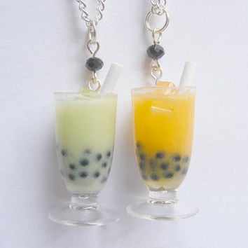 Food Jewelry Boba tea necklace Bubble tea pendant Boba tea pendant Bubble tea necklace Boba tea jewelry Miniature Food, Mini Food Kawaii