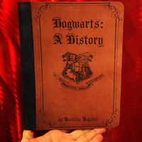 harry potter inspired -  Hogwarts A History -  iPad 2, iPad 3 and iPad 4 Leather Book Cover Case