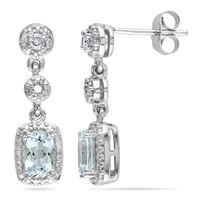 Cushion-Cut Aquamarine and 1/10 CT. T.W. Diamond Drop Earrings in 10K White Gold