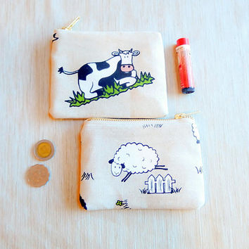 Cute Animal Gift For Her/ Wife Gift/ Make Up Bag/ Gift for Mom/ Sister Gift/ Coworker Gift/ BFF Gift/ Bridesmaid Gift/ Coin Purse/ Christmas