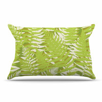 "Jacqueline Milton ""Fun Fern - Green"" Green Floral Pillow Case"