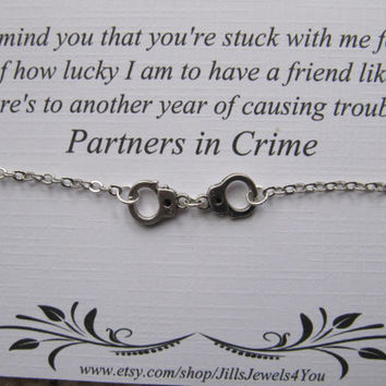 Handcuff Partners in Crime Bracelet - Friendship Bracelet - Long Distance Best Friend - Best friend bracelet - BFF gift - Best Friend gift