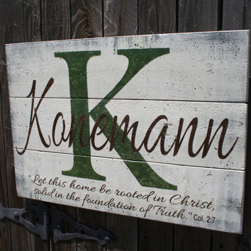 Name Sign Family Name Sign Initial Sign Rustic Pallet Distressed Wood Wedding Gift Bridal Shower Gift Housewarming Gift Christian Wall Art