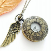 Roma numeral Wing Charm Pocket Watch necklace -antique bronze- groomsmen gift